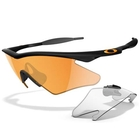 Oakley M-Frame Custom Men's Shooting Glasses - Jet Black (Frame) / Clear, and Persimmon (Lenses)